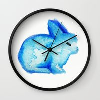 rabbit Wall Clocks featuring rabbit by carrie booth
