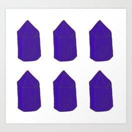 Blue Gemstone Pattern Art Print