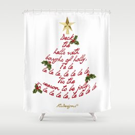 """Deck the Halls"" Lyric Christmas Tree Shower Curtain"