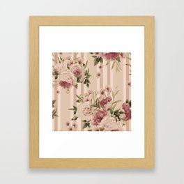Flowers and Stripes Two Framed Art Print
