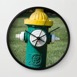 Clow Eddy Valve Div Fire Plug Yellow White and Green Fire Hydrant  Wall Clock