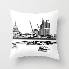 London Black and White Throw Pillow