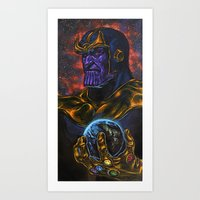 thanos Art Prints featuring Marvel Thanos Infinity Gauntlet by Adam Worley