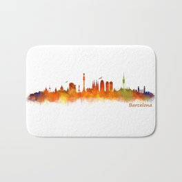 Barcelona City Skyline Hq _v2 Bath Mat