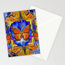 ABSTRACT ORANGE MONARCH BUTTERFLIES & BLUE FLORAL BLACK Stationery Cards