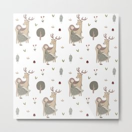 Girl and Deer - white Metal Print