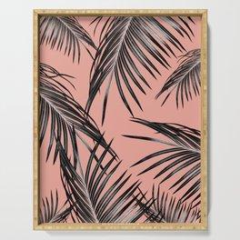 Black Palm Leaves Dream #5 #tropical #decor #art #society6 Serving Tray