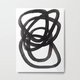 Black And White Minimalist Mid Century Abstract Ink Art Circle Swirls Black Circles Minimal Metal Print
