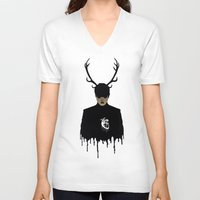 hannibal V-neck T-shirts featuring Hannibal by GinHans