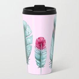 Watercolor feathers (pink) Travel Mug