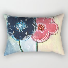 Happy Simple Flowers Rectangular Pillow