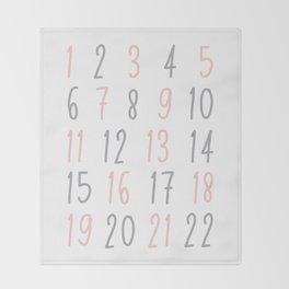 Numbers - Pink Throw Blanket