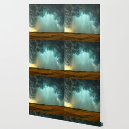 Open the Heavens - Panoramic Storm with Teal Hue in Northern Oklahoma Wallpaper