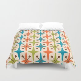 Mid Century Modern Abstract Star Pattern 441 Orange Brown Turquoise Chartreuse Duvet Cover
