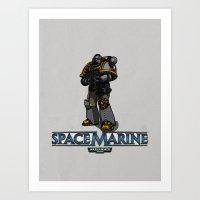 warhammer Art Prints featuring Space Marine by Eren Ozel