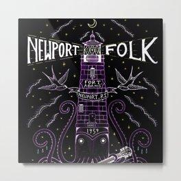 1959 Newport Folk Festival Advertisement Lighthouse Poster, Newport, Rhode Island Purple Motif Metal Print
