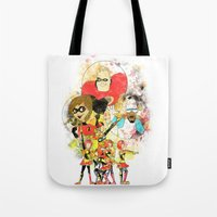 pixar Tote Bags featuring Disney Pixar Play Parade - Incredibles Unit by Joey Noble
