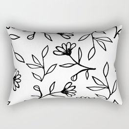 Black and White Botanical Pattern Rectangular Pillow