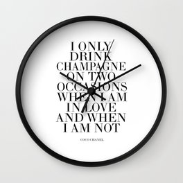 Quote,Inspirational Quote,Motivational Poster,Champagne Sign,Fashion Quote,Fashionista,Office Wall Clock