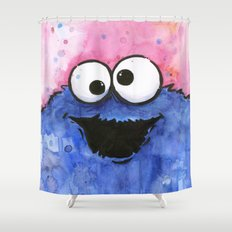 Cookie Monster Funny Cartoon Character Watercolor Blue Pink Shower Curtain