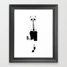 Raccoon ~ black and white Framed Art Print