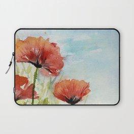 Red Flowers Watercolor Poppies Laptop Sleeve