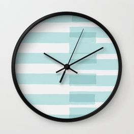 Big Stripes In Turquoise Wall Clock