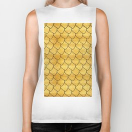 Golden scales with black line Biker Tank