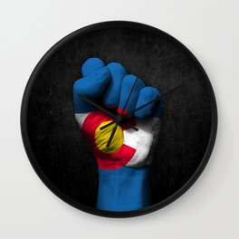 Colorado Flag on a Raised Clenched Fist Wall Clock