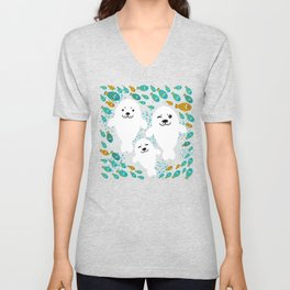 White cute fur seal and fish in water Unisex V-Neck