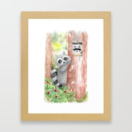 Racoon wanted Framed Art Print