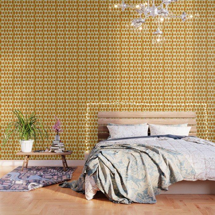 Retro Psychedelic Wavy Pattern in Orange, Yellow, Olive Wallpaper