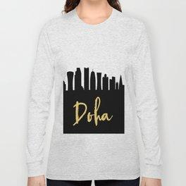 DOHA QATAR DESIGNER SILHOUETTE SKYLINE ART Long Sleeve T-shirt