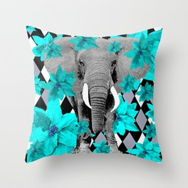 ELEPHANT and HARLEQUIN BLUE AND GRAY Throw Pillow