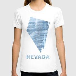 Nevada map outline Light steel blue blurred wash drawing design T-shirt