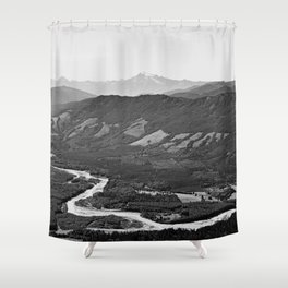 River in the Mountains B&W Shower Curtain