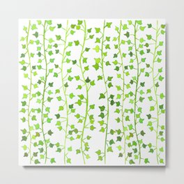 Watercolor Vines Pattern - Lime Green Metal Print