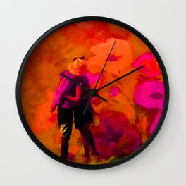 Dans les fleurs rouges Wall Clock