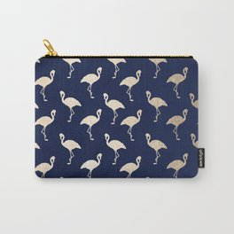 Gold Flamingo Pattern Navy Blue Carry-All Pouch