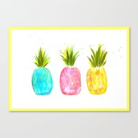 pineapples Canvas Prints featuring Pineapples  by Melanie Dorsey Designs