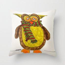 Owl in winter Throw Pillow