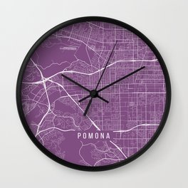 Pomona Map, USA - Purple Wall Clock