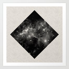 Space Diamond - Abstract, geometric space scene in black and white Art Print