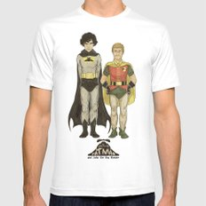 The Adventures of Hat-man and John the Boy Wonder MEDIUM White Mens Fitted Tee