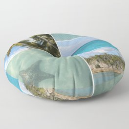 Caribbean Travel Vacation Photo Collage Floor Pillow