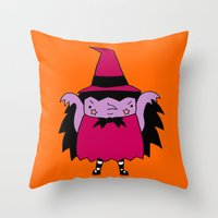 witch Throw Pillows featuring Witch by Soju Shots