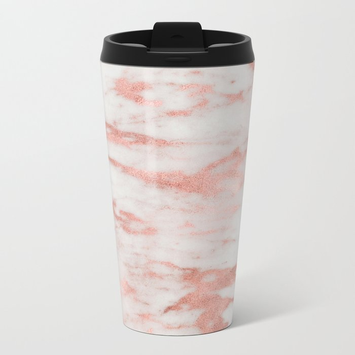 White Marble with Rose Gold Foil Metal Travel Mug