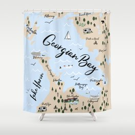 Map of Georgian Bay and Lake Huron Shower Curtain