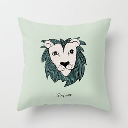 Stay wild you little lion baby nursery mint green illustration Throw Pillow