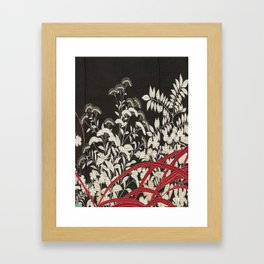 Kuro-tomesode with a Pair of Pheasants in Hiding (Japan, untouched kimono detail) Framed Art Print